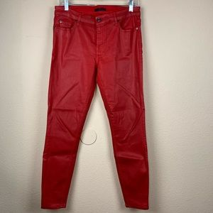 7 For All Mankind Red Waxed Skinny Jeans 🎈